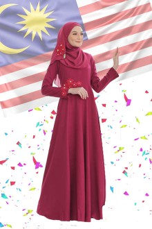 DRESS FARISHA MAROON